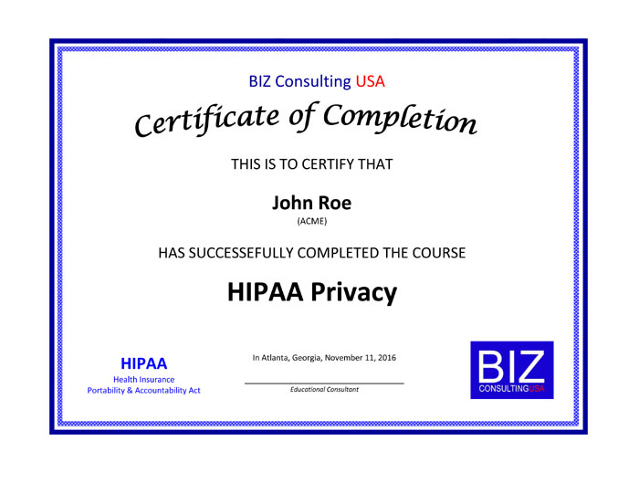 BIZ Consulting USA | HIPAA Privacy Certification